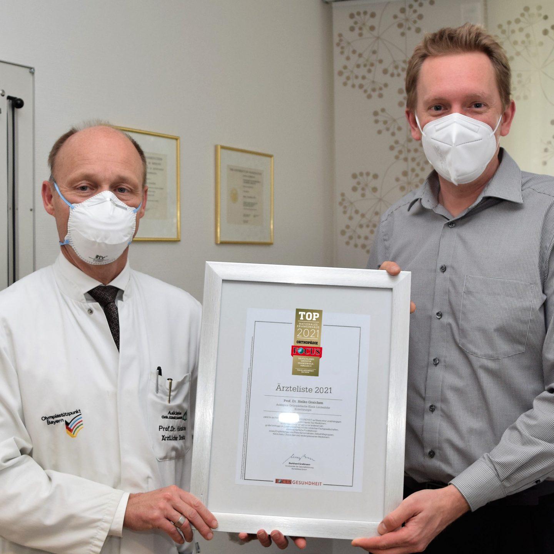 TOP FOCUS-Siegel für Asklepios Klinik Lindenlohe und Professor Dr. Heiko Graichen